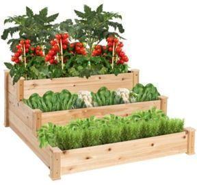 3-Tier Raised Fir Wood Garden Bed Planter