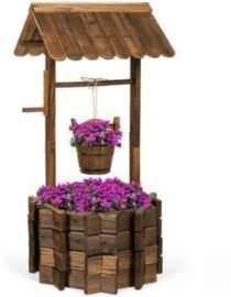 Rustic Wooden Wishing Well Planter