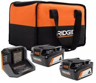 2-Count Ridgid 18V Lithium-Ion 4.0 Ah Batteries w/ Charger & Bag