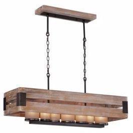 Ackwood 7-Light Rectangular Wood Chandelier