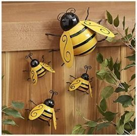 4PCS Metal Bumble Bee Garden Decor
