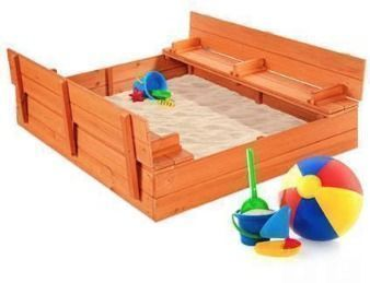 Kids Cedar Sandbox w/ Sand Screen