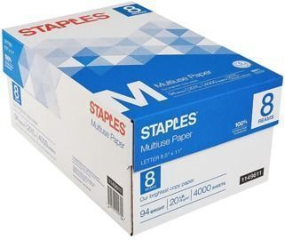 Staples 8.5 x 11 Multiuse Copy Paper, Bright White, 8 Reams
