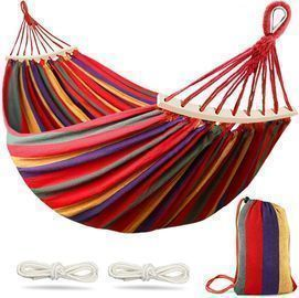 MOSFiATA Single Person Hammock w/ Balance Beams & Metal Knot Tree Strap