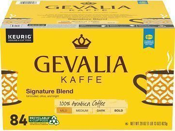 84 Pods of Gevalia Signature Blend Mild Roast K-Cup Coffee