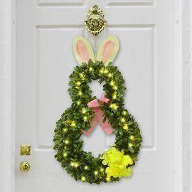 Alladinbox 20 Pre-lit Easter Bunny Wreath Boxwood