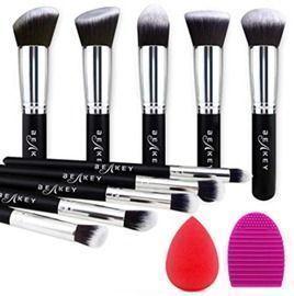 Makeup Brush Set with Blender Sponge and Brush Cleaner