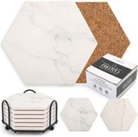 Coasters for Drinks Absorbent, 6 Pcs Hexagon Ceramic Coasters