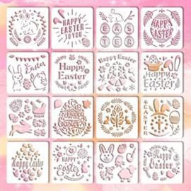 16PC Easter Stencils Set
