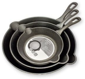 BERGHOFF Raw Cast Iron Skillet (Set of 3)
