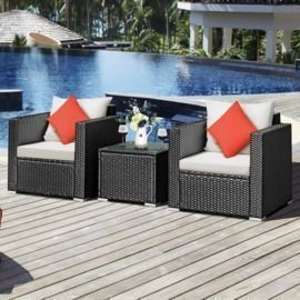 Costway 3pcs Patio Wicker Furniture Set w/ Cushions
