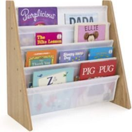 Natural/White Kids Book Rack, Storage Bookshelf with Deep Sleeves