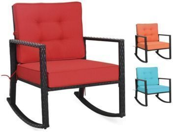 Outdoor Cushioned Rattan Rocking Chair