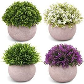 Artificial Mini Potted Plants - Set of 4
