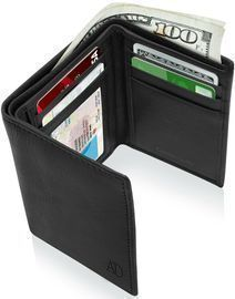 Real Leather Men's Trifold Wallet w/ RFID Blocking