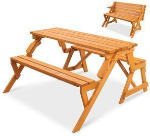 2-in-1 Outdoor Convertible Wooden Picnic Table/Garden Bench