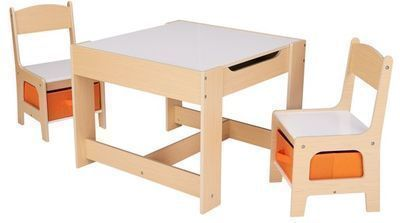 Senda Kids' Wooden Storage Table and Chairs Set, 3pc