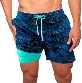 Drawstring Built-in Compression Liner Swim Trunks