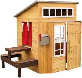 KidKraft Modern Outdoor Wooden Playhouse w/ Picnic Table, Mailbox & Outdoor Grill