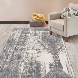 5'X 7' Distressed Contemporary Bohemian Gray Area Rug