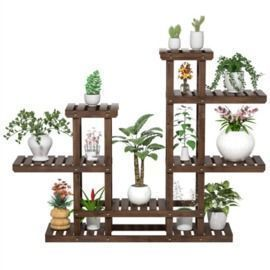 SmileMart 6-Tier 7-Shelf 38 High Wooden Flower and Plant Display Stand