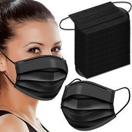 100pk 3 Ply Black Disposable Face Masks