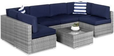 7pc Modular Wicker Sectional Conversation Set