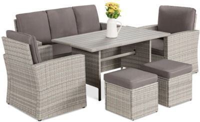 7 Seater Conversation Wicker Dining Table