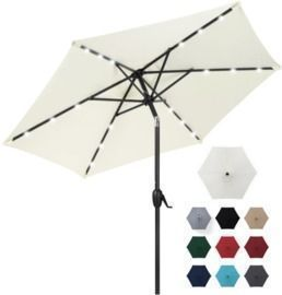 7.5' Outdoor Solar Patio Umbrella W/ Push Button Tilt, Crank Lift