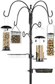 89 Bird Feeding Station, 6 Hook Steel Multi Feeder Stand W/ 4 Feeders