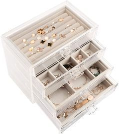 Clear Acrylic Jewelry Box with 4 Drawers