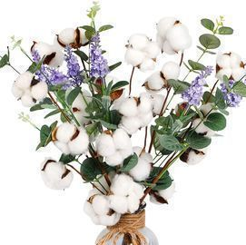 6pcs Cotton Stems Artificial Cotton Flower