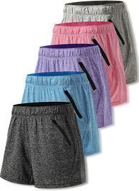Liberty Imports Women's Heather Training Shorts (Pack of 5)
