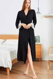 Lightweight Full Length Soft Knit Tie Closure Bathrobe