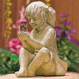 Garden Children Solar Lighted Firefly Jar Statue