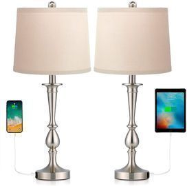 Set of 2 Befano Table Lamps with 2 USB Ports