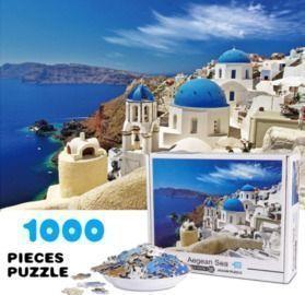 1000 Pieces Aegean Sea Landscape Puzzle with Poster