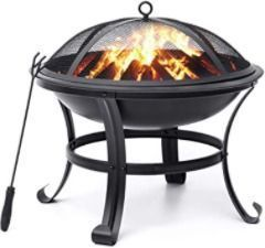22'' Fire Pits Outdoor Wood Burning Steel BBQ Grill Firepit Bowl with Mesh Spark Screen Cover