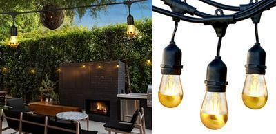 48 ft of Beautiful Gold Tip LED Outdoor String Lights  Commercial Grade Waterproof