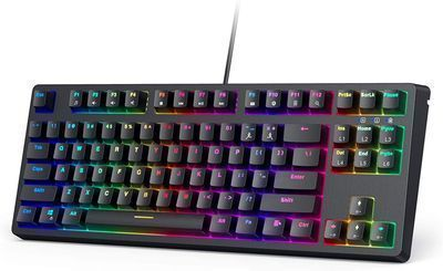 Aukey 87-Key RGB Backlit Mechanical Wired Keyboard w/ Clicky Blue Switches