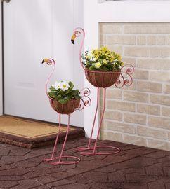 Set of 2 Flamingo Bird Planters with Coconut Fiber Basket