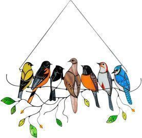 Multicolor Birds on a Wire Stained Glass Suncatcher