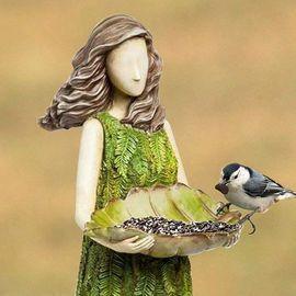 Bird Feeder Fairy Garden Statue