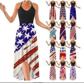 Independence Day Printed V-Neck Sling Irregular Hem Dress