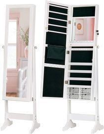 LED Light Jewelry Cabinet Standing Mirror