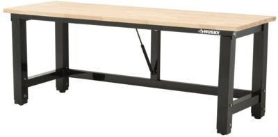 6' Folding Adjustable Height Solid Wood Top Workbench