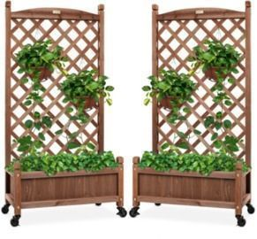 Set of 2 Wood Planter Box & Lattice Trellis