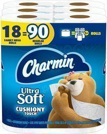 18 Mega Rolls of Charmin Ultra Soft Cushiony Touch Toilet Paper