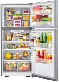 Top Freezer Refrigerator in Stainless Steel with Reversible Door