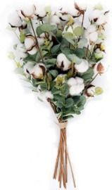 Cotton Stems with Eucalyptus Leaves - 6pk